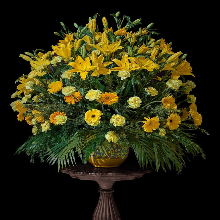 T.M. Glass Color Photograph - Jaipur Wedding Bouquet with Lilies, Marigolds, and Carnations