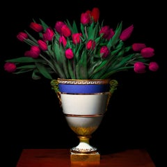 Tulips in a Blue, White and Gold Vessel