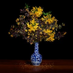 Yellow Azalea and Barberry in a Blue and White Chinese Vase