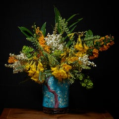 Yellow, White and Orange Bouquet in an Asian Vessel