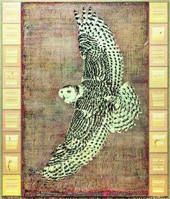 Grand oiseau noir et blanc accordeur d'éternité