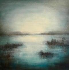 Harbour Haze - Contemporary Landscape Painting by Clodagh Meiklejohn