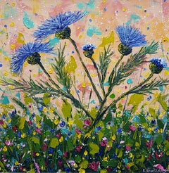 Thistle Bloom Time in Purple - Contemporary Painting by Elena Guillaumin