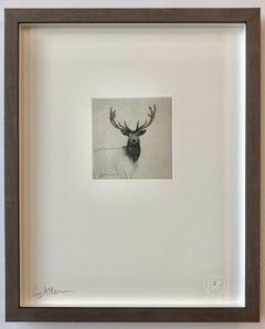 Highland Stag Study - Contemporary Animal Drawing by Guy Allen