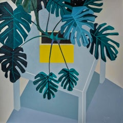 Monstera-Deliciosa, Isometric - Contemporary Still Life Painting by Donald Macle