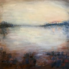 Sunset Over Venice - Landscape Painting, Abstract, 21st Century, Blue