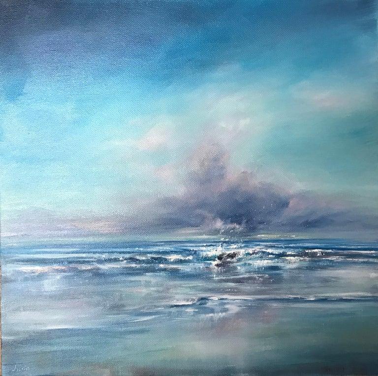 Senja Brendon Landscape Painting - Collar up, Hands in Pockets