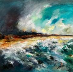 Lunan Beach Fife - Contemporary Seascape Painting by Mark McCallum