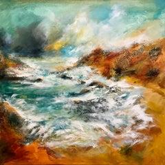 Kearvaig Beach - Contemporary Seascape Painting by Mark McCallum