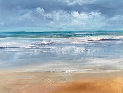 Golden Sands - Contemporary Seascape Painting by Senja Brendon