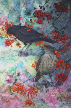 Pair of blackbirds - Realistic Painting by Helen Welsh