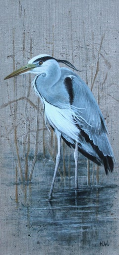 Grey Heron - Realistic Painting by Helen Welsh