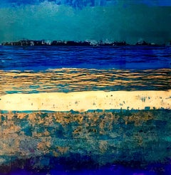 Elemental Arran Abstract Tones of Blue - Contemporary Painting by Nick Giles