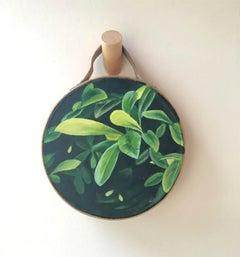 Duet, Vintage Tamburello - Contemporary Nature Painting by Katie Litton