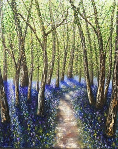 Bluebell Path - Contemporary Painting by Elena Guillaumin