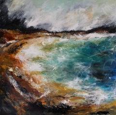 Scarista Bay, Isle of Harris - Contemporary seascape Painting by Mark McCallum