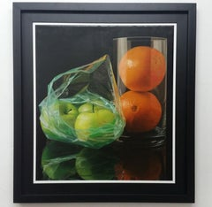 Green Apples and Oranges - Vizcaíno Oil painting on canvas hyperrealism