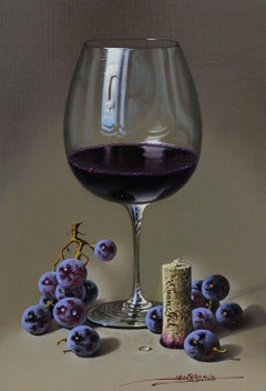 Red Wine - Mulio Oil painting on Board Realism