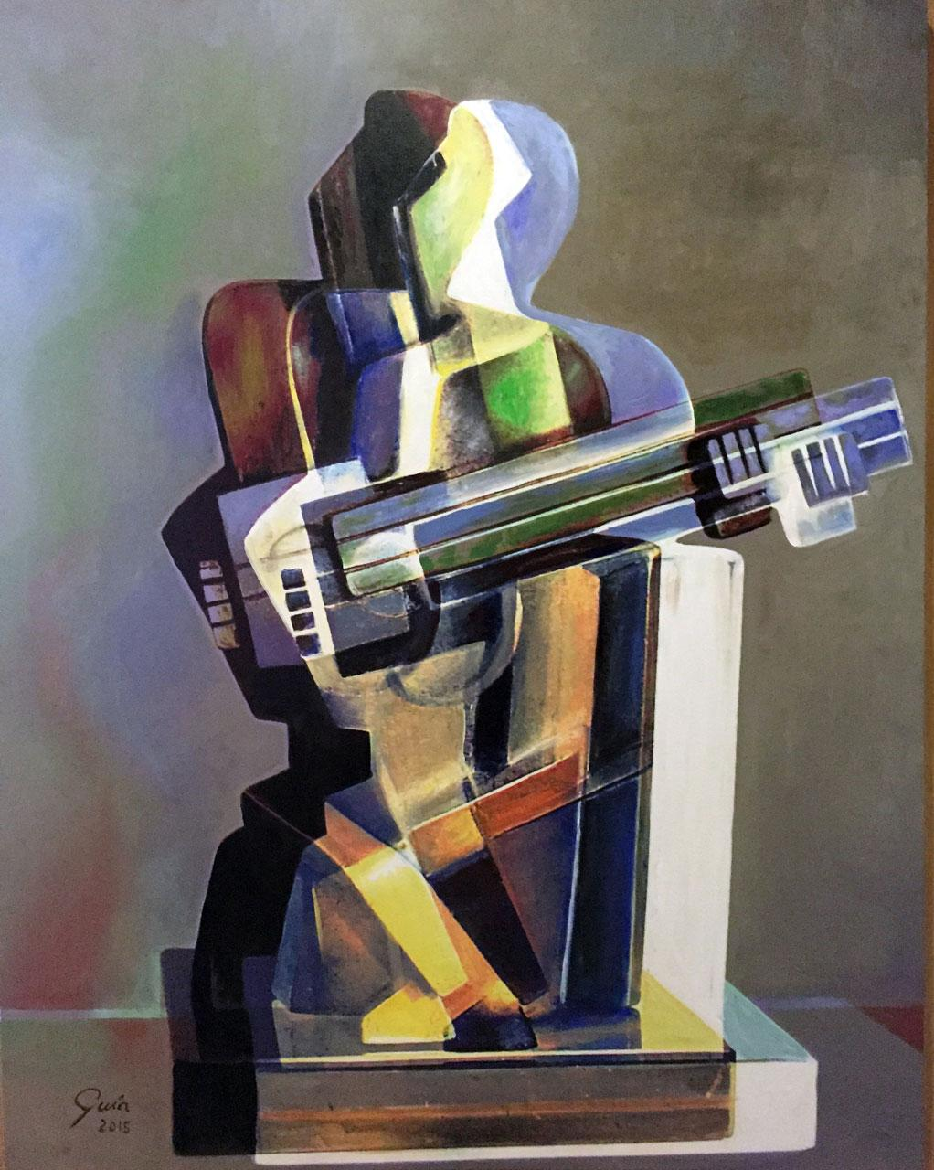 Tridimensional Cubism Harlequin - Miguel Guía Cubist Oil Paint on Canvas