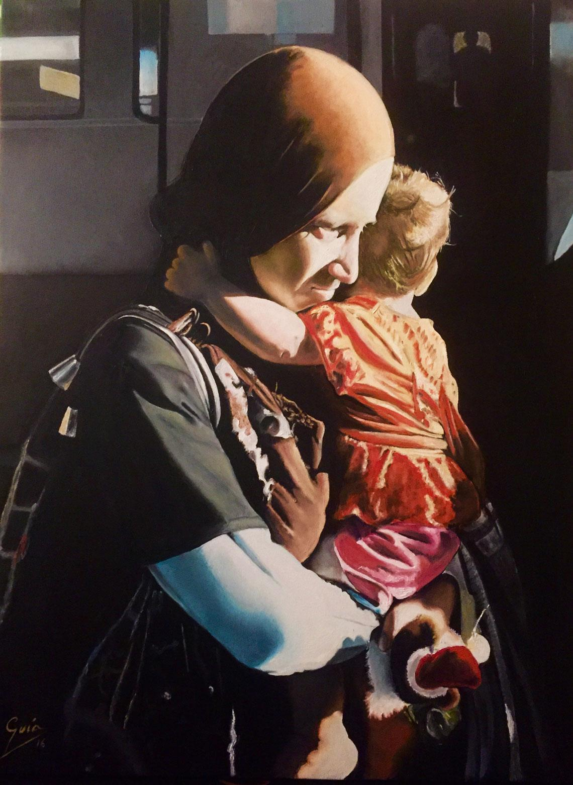 The Exile - Miguel Guía Realist Oil Paint on Canvas