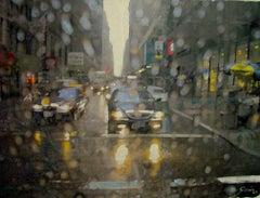 Raining in New York - Miguel Guía Impresionism Oil Paint on Cardboard