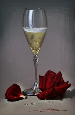 Champagne and Rose - Mulio Oil painting on Board Realism