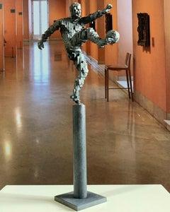 Zidane goal pillar - Miguel Guía Constructivist Cast bronze Sculpture