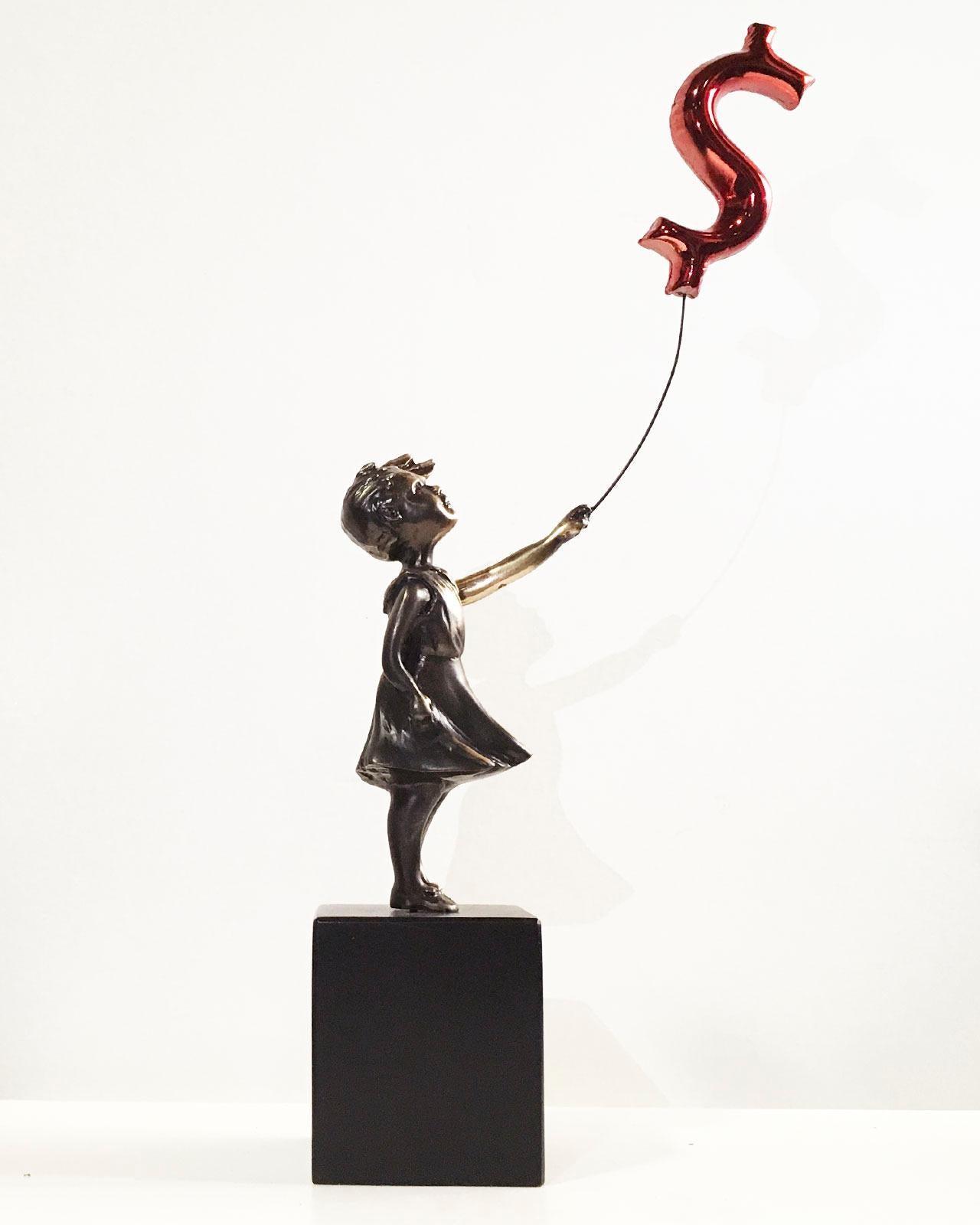Girl with balloon dollar - Miguel Guía Street Art Cast bronze Sculpture