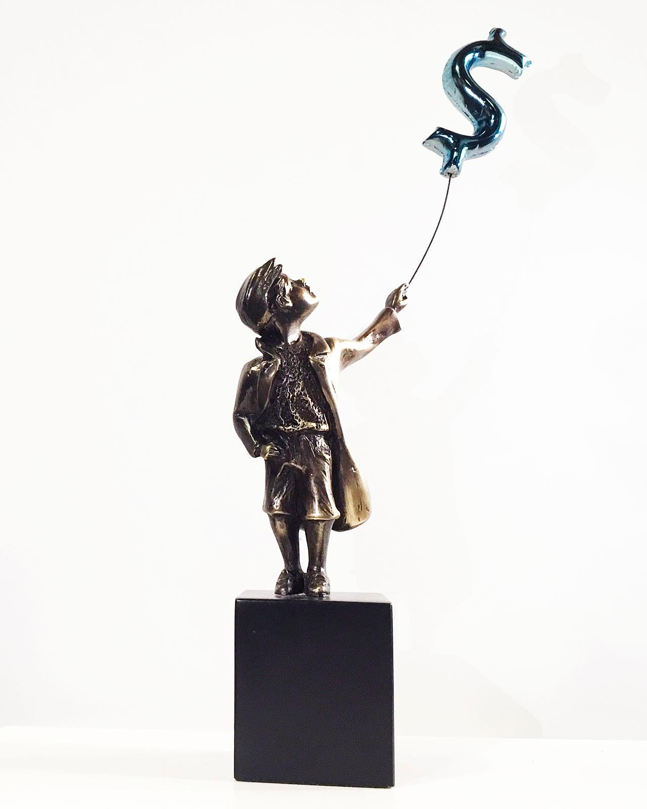 Child with balloon dollar - Miguel Guía Street Art Cast bronze Sculpture