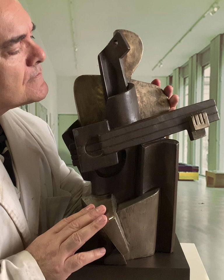 Big Guitarist Arlequin Cast Bronze - Miguel Guía Cubist Sculpture For Sale 1