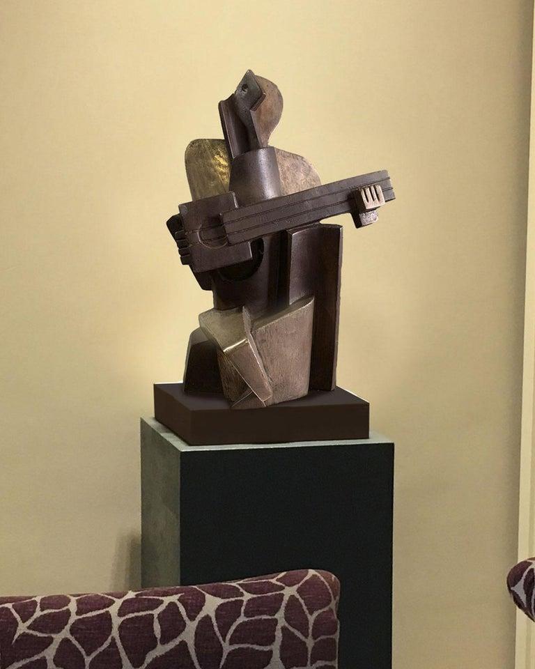 Big Guitarist Arlequin Cast Bronze - Miguel Guía Cubist Sculpture For Sale 2