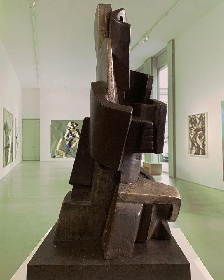 Big Guitarist Arlequin Cast Bronze - Miguel Guía Cubist Sculpture For Sale 5