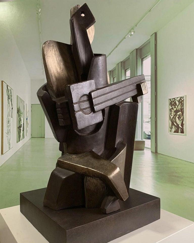 Big Guitarist Arlequin Cast Bronze - Miguel Guía Cubist Sculpture For Sale 6