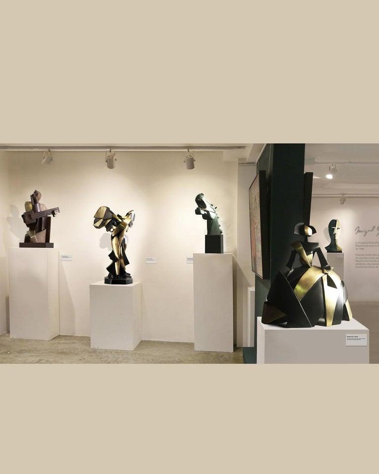 Big Guitarist Arlequin Cast Bronze - Miguel Guía Cubist Sculpture For Sale 7