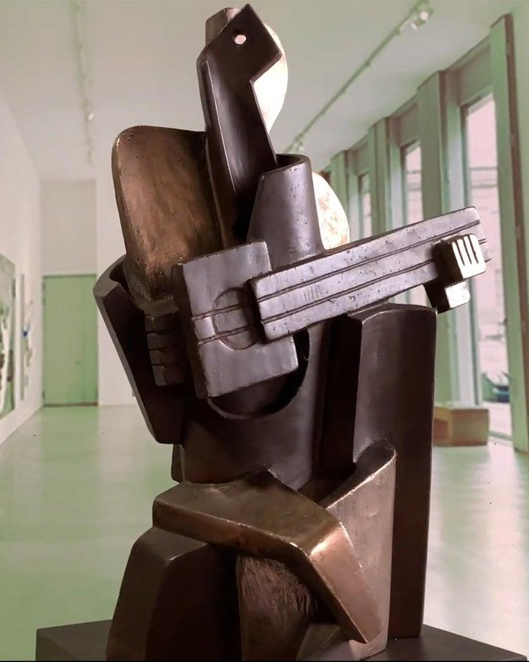 Big Guitarist Arlequin Cast Bronze - Miguel Guía Cubist Sculpture For Sale 12