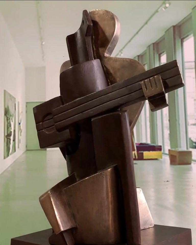 Big Guitarist Arlequin Cast Bronze - Miguel Guía Cubist Sculpture For Sale 13