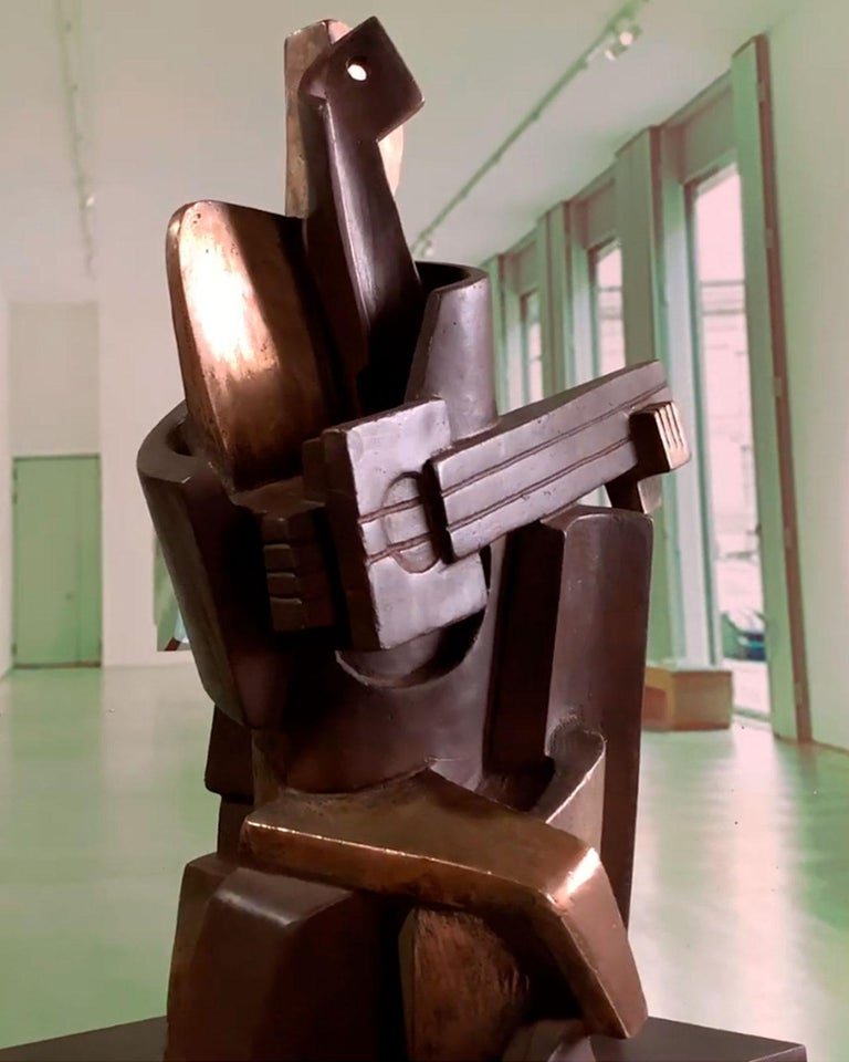 Big Guitarist Arlequin Cast Bronze - Miguel Guía Cubist Sculpture For Sale 14