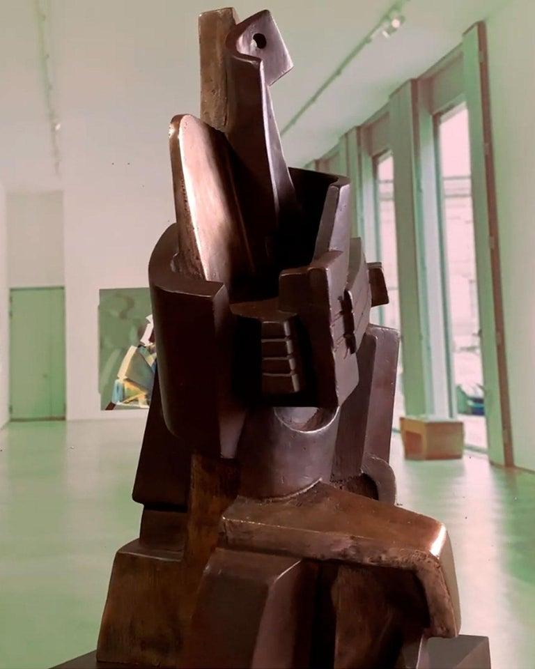 Big Guitarist Arlequin Cast Bronze - Miguel Guía Cubist Sculpture For Sale 16