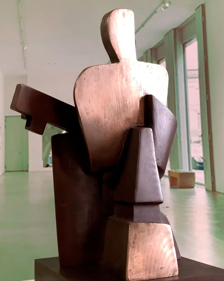 Big Guitarist Arlequin Cast Bronze - Miguel Guía Cubist Sculpture For Sale 17