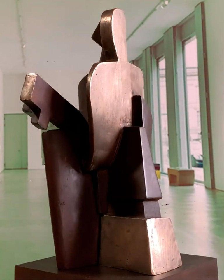 Big Guitarist Arlequin Cast Bronze - Miguel Guía Cubist Sculpture For Sale 18