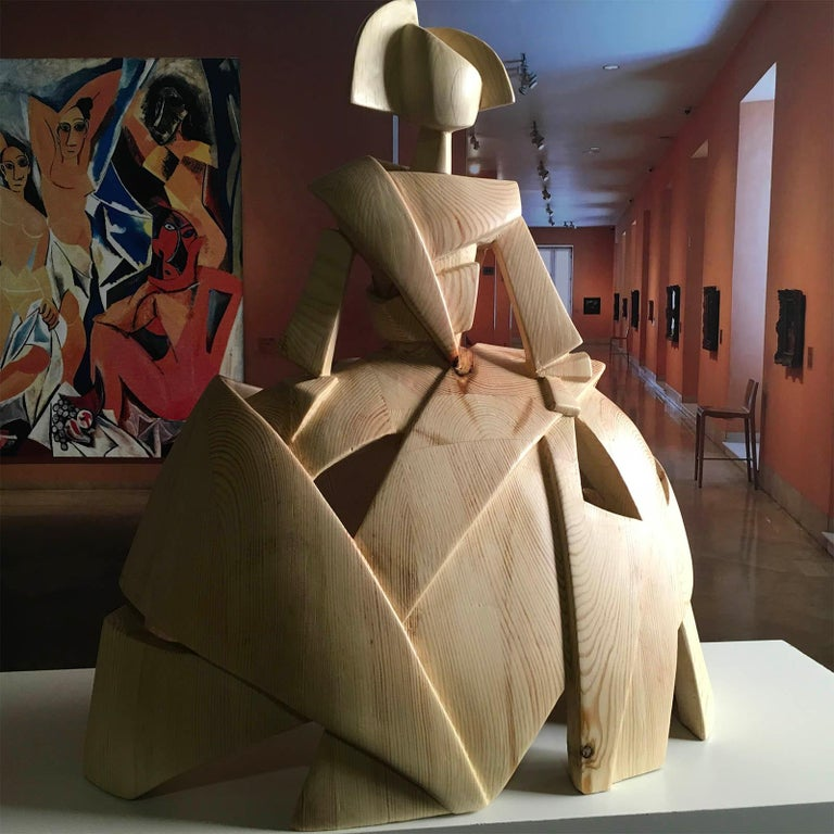 Big Infant Girl Air and Wood – Miguel Guía Cubist Sweden pine tree Sculpture - Brown Figurative Sculpture by Miguel Guía