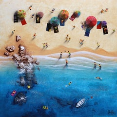 Summer Paradise #2 - Bartus Mixed media 3D on canvas Neo-Expressionist