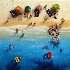 Summer Paradise #8 - Bartus Mixed media 3D on canvas Neo-Expressionist
