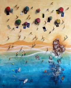 Summer Paradise #4 - Bartus Mixed media 3D on canvas Neo-Expressionist