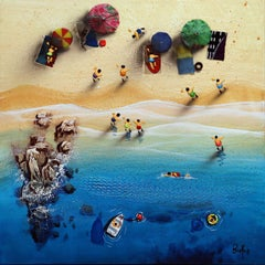 Summer Paradise #7 - Bartus Mixed media 3D on canvas Neo-Expressionist