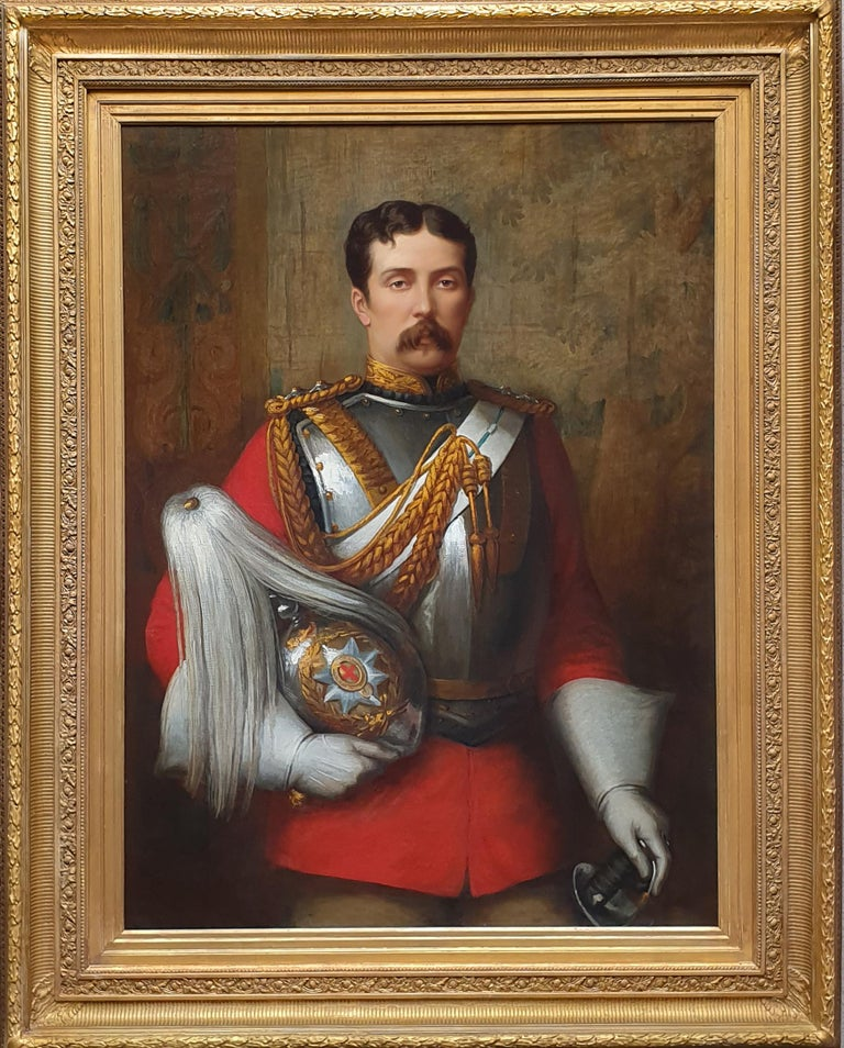 This striking large scale portrait depicts Captain Cecil Tufton Otway, an army Captain, High Sheriff of Radnorshire in 1881 (when he resided at Newcastle Court), and a Politician.  Born Cecil Alfred Otway in Bognor, Sussex, England in 1845, he was