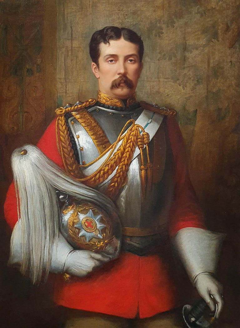 PORTRAIT of Captain Cecil Alfred Tufton Otway (1845-1884) c.1877 Signed - Painting by Margaret Thomas