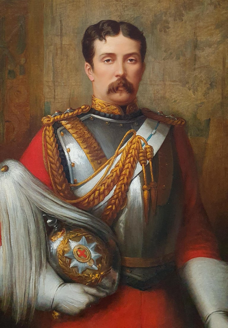PORTRAIT of Captain Cecil Alfred Tufton Otway (1845-1884) c.1877 Signed - Victorian Painting by Margaret Thomas