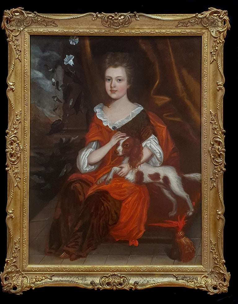 (attributed to) Johannes Verelst Portrait Painting - Portrait of a Young Girl with a Spaniel, circa 1695
