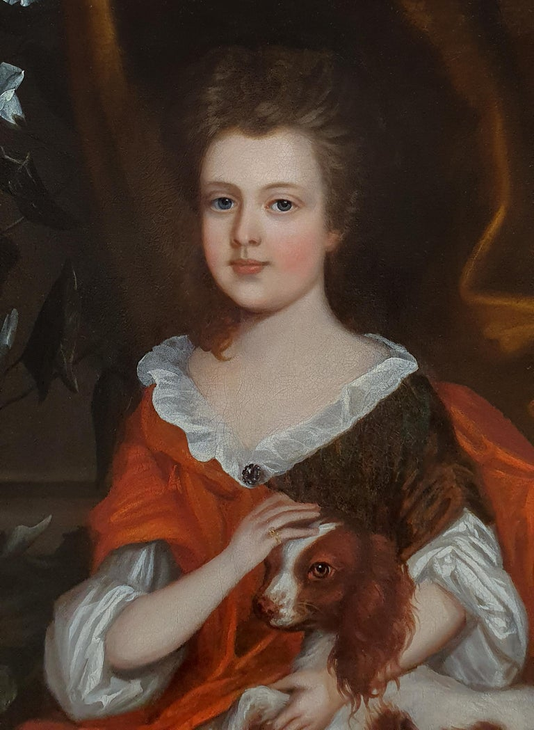 Portrait of a Young Girl with a Spaniel, circa 1695 - Painting by (attributed to) Johannes Verelst